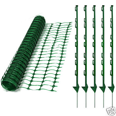 50m Green Plastic Mesh Barrier Safety Event Fence 5.5kg + 20 Green Plastic Pins