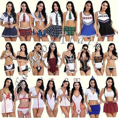 Naughty Women Lady Sexy School Girl Uniform Costume Fancy Role Play Tops Cosplay