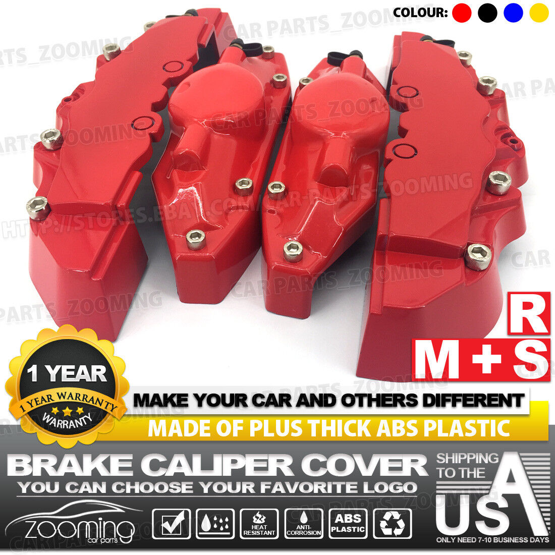 Universal Style Disc Brake Caliper Cover Front and Rear 4 Pcs Black LW01