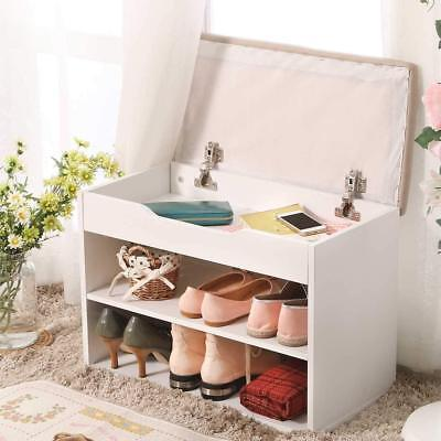 Shoe Bench Storage Box Wood Shoe Cabinet with Soft Cushion Seat for Entryway