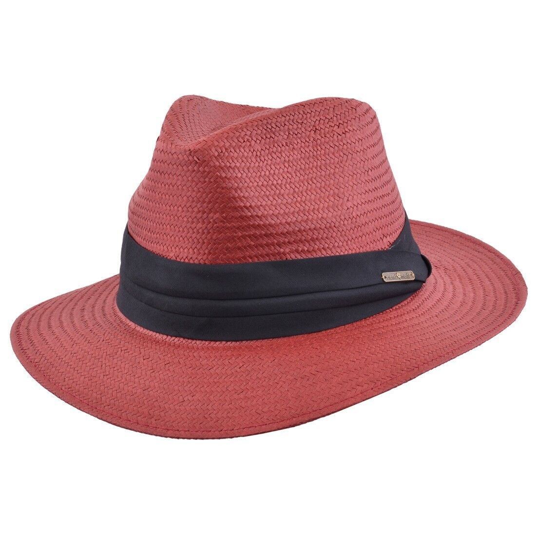 Mens Ladies Brick Packable Straw Summer Panama  Fedora  Hat With Band New