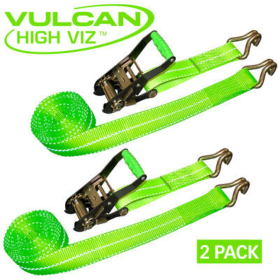 "Vulcan Hi-Viz 2"" x 15' Ratchet Strap with J-Hooks 10,000 pound Capacity 2 PACK"