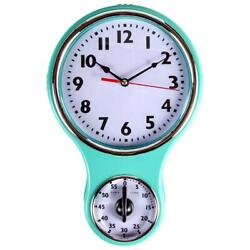 Lily's Home Retro Kitchen Timer Wall Clock, Bell Shape - Turquoise