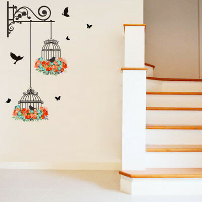 Chic Bedroom Decor (TV Wall Decorate Wall Sticker Harmless Birdcage Painting Bedroom Room Decor)