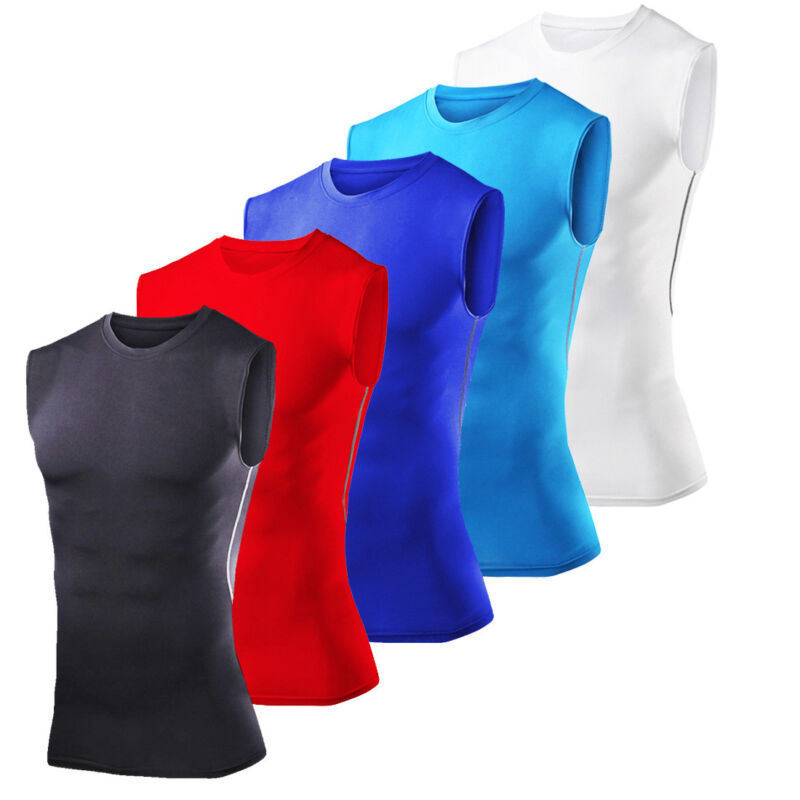 Mens Compression Shirt Tank Top Sleeveless Base Layer Tights Gym Workout Clothes