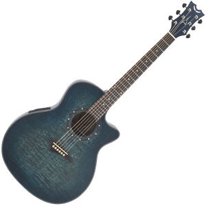 Dean Exotica Quilted Ash Acoustic/Electric Guitar - Trans Blue Satin