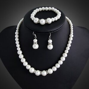 Imitation Pearl Rhinestone Diamante Spacers Necklace Bracelet and Earring Set