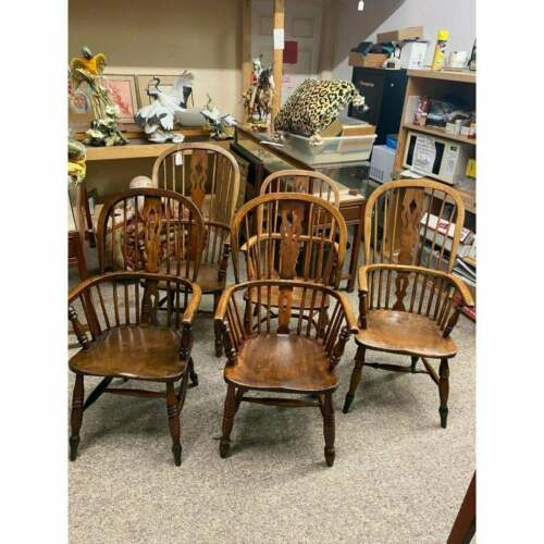Eight (8) Antique English Windsor Arm chairs ( Kitchen ) or Breakfast Room