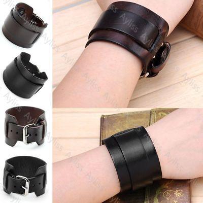 Cow Leather Cuff - Men's Women's Genuine Cow Leather Belt Bracelet Cuff Wristband Bangle Gift