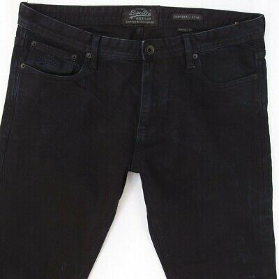 Mens SuperDry CORPORAL Slim Stretch Slim Straight Black Jeans W36 L32