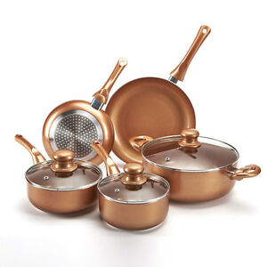5 Piece Pan Set Aluminium in Copper Style Non-Stick INDUCTION CERAMIC GAS HOBS