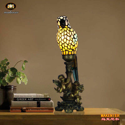 (Makenier Tiffany Style Stained Glass Parrot Angel Base Table Lamp Night Lamp)