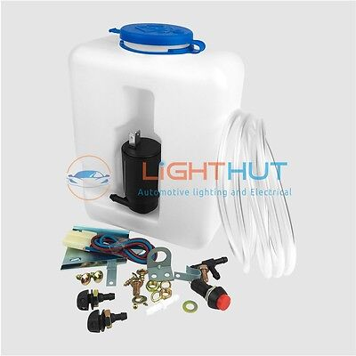 12V Windscreen Washer Kit Screenwash 1.2L Bottle Pump Wiring Jets Switch