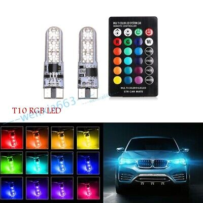 LED 501 Remote Control 5W5 T10 RGB Color Changing Car Wedge Side Light Bulbs SET