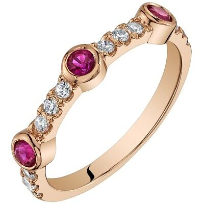 0.25 Carats Created Ruby Stackable Ring Band in Rose-Tone Sterling -