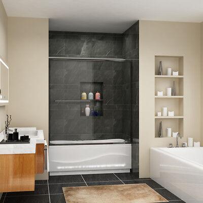 """Buoyant SHOWER 60"""" Semi-Frameless Sliding Tub Shower Door Clear Glass Chrome"""