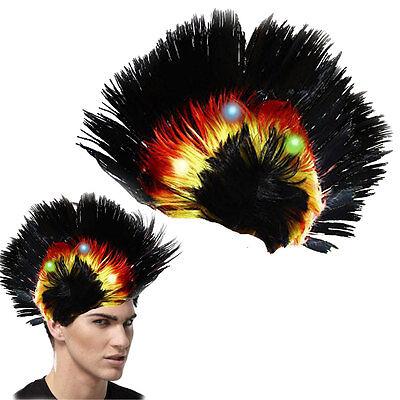 Dazzling Toys Blinking LED Black Mohawk Wig Unisex Halloween Fancy Punk Costume (Blinking Toys)