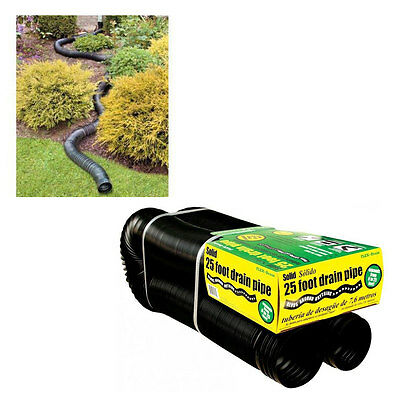 FLEX-Drain 50110 Solid Corrugated Flexible Landscape Drain Pipe, 4′ by 25′ Building Materials & Supplies