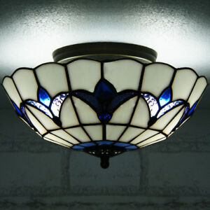Tiffany 3 Light Semi Flush Mount Ceiling Lighting Lamp Fixture Stained Glass 16