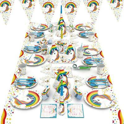 Polka Dot Sky Magical Unicorn Birthday Party FULL KIT Tableware Pack Paper 90pcs - Polka Dot Tableware