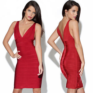 Women's Bandage Bodycon Stretch Party Sexy Evening Wedding Dresses Size 68101214