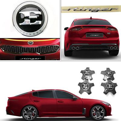 "New OEM Front Rear Emblem + 19"" Center Wheel Cap Set for Kia Stinger 17-18"