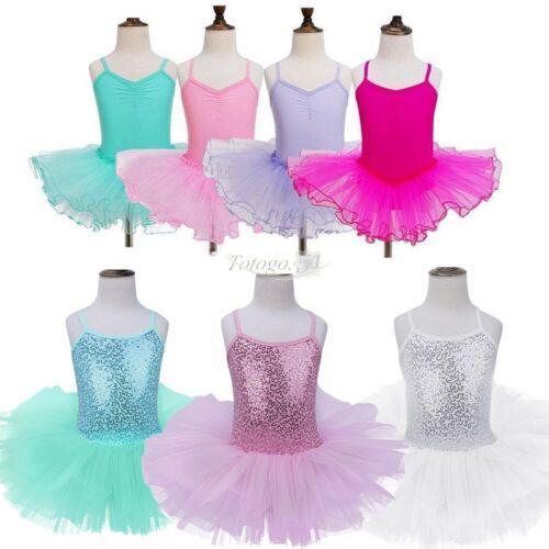 Toddler Girls Gymnastics Dance Dress Ballet Tutu Skirt Leotard Dancewear 2-12Y