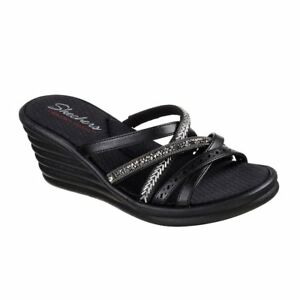 Buy Sale Online Discount Official Site Skechers Rumblers Wave New Lassie Slide Wedge Sandal(Women's) -Pewter Buy Cheap Real Low Shipping Fee eJch89