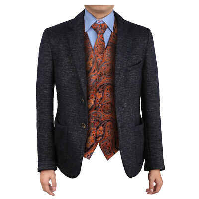 EGD2B03B Orange Blue Patterns Microfiber Cheap For Mens Vest Neck Tie Set Epoint (Vests For Men Cheap)