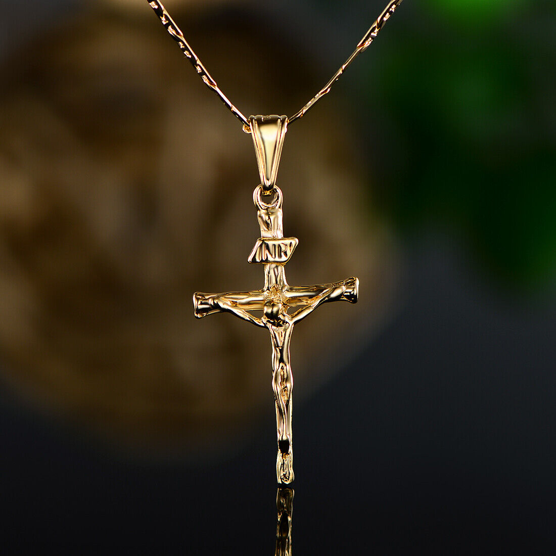 Jewellery - Sevil Unisex 18K Gold Plated Crucifix Pendant With Flat Marina Chain Necklace