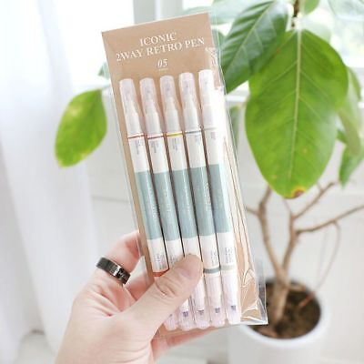 ICONIC 2 Way Retro Pen - Set of 5 Color Pens -Fine / Thick Dual Nibs Highlighter