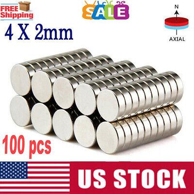 Lots 100 4mm X 2mm Neodymium Disc Strong Rare Earth N35 Small Fridge Magnets