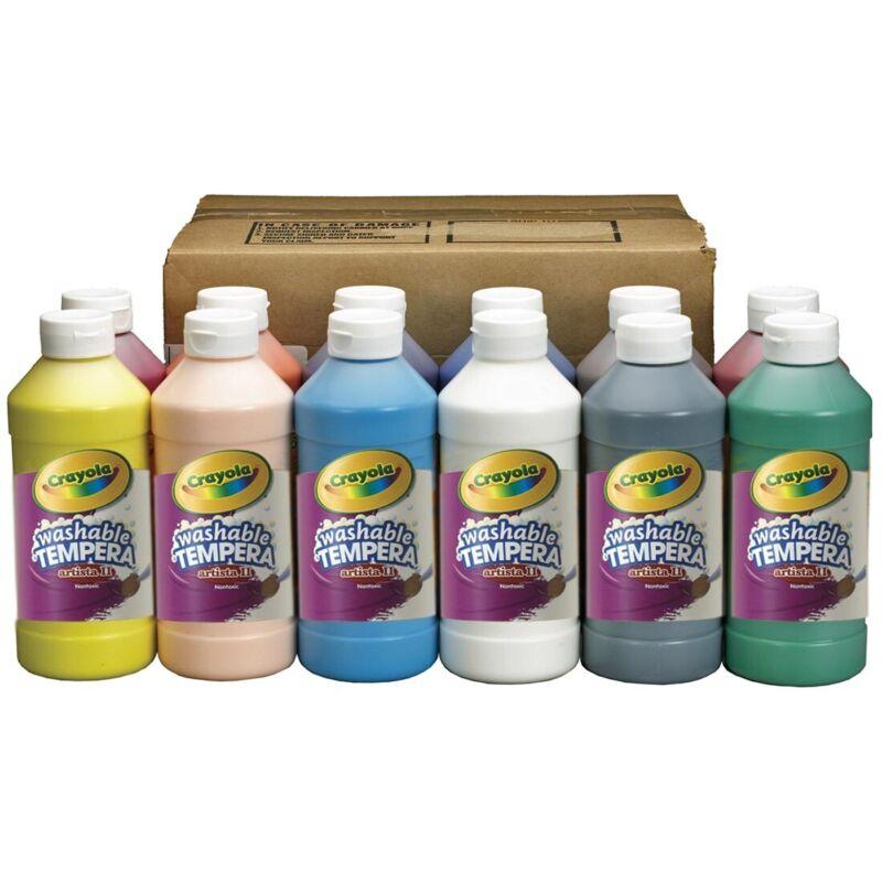 Crayola Artista II Washable Tempera Paint 12 Pint Set  - Pint, 12-Color Set