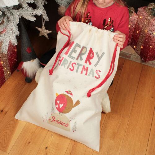 Personalised+Large+Christmas+Robin+Gift+Sack