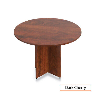 Gof 48 Round Table With Cross Base Dark Cherry 48w X 48d X 29.5h