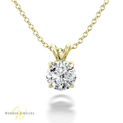 0.6ct GIA Round Diamond Solitaire Necklace Pendant 14K Gold D-/VVS1 (1293251597)