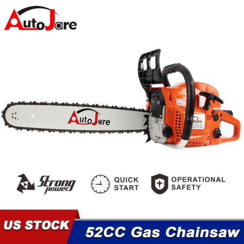 """52CC 20"""" Gasoline Chainsaw Powered Wood Cutting Engine Gas Crankcase Chain Saw"""