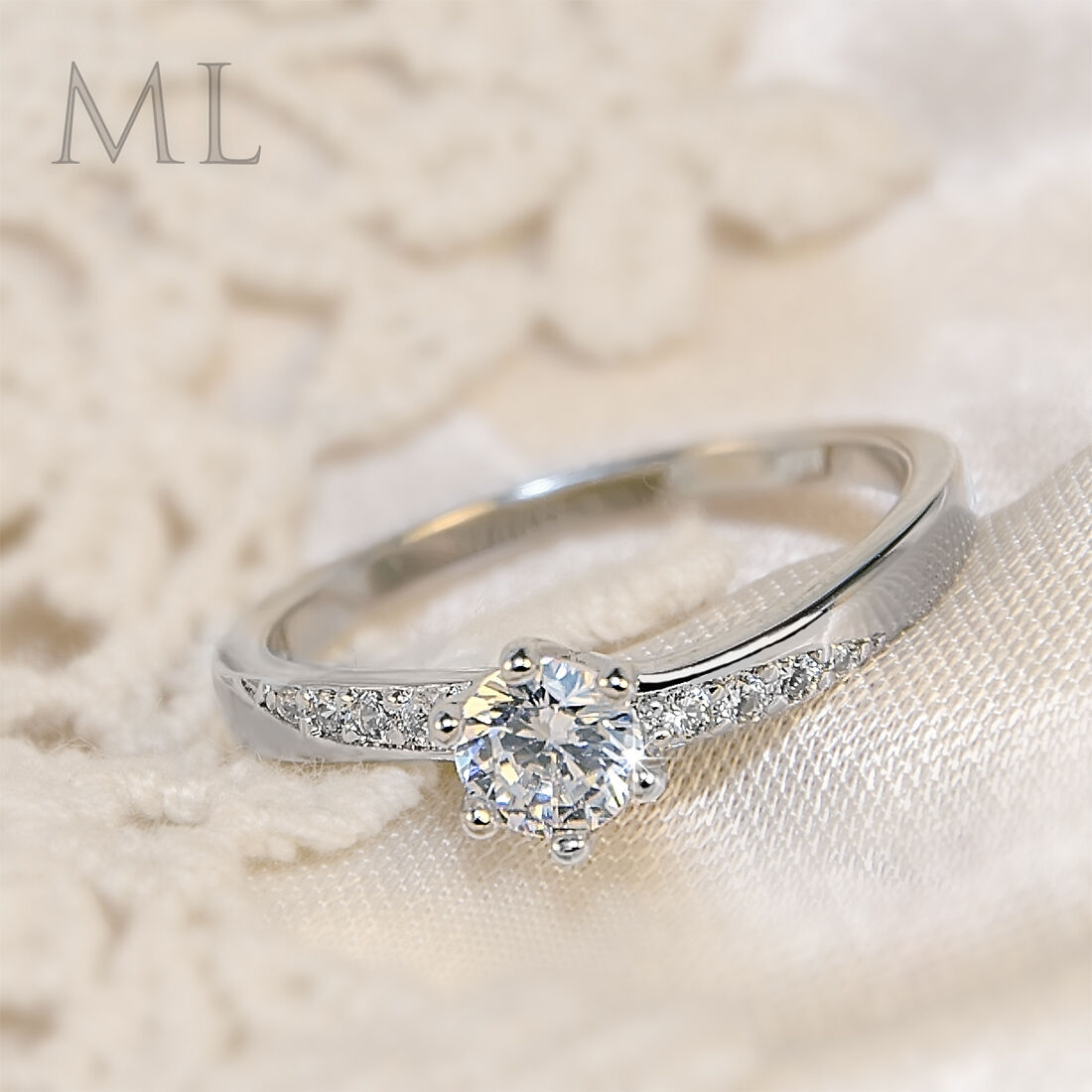 Ring - 0.75 CT Carat ROUND CUT Engagement Promise RING Silver Plated SIZE 4-10 Eve