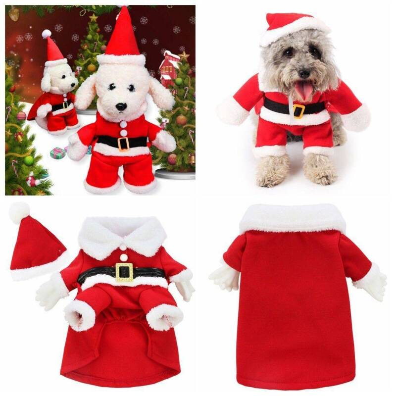 Christmas Pet Small Puppy Dog Cat Santa Claus Cape Coat Costume Outfit Cosplay 1