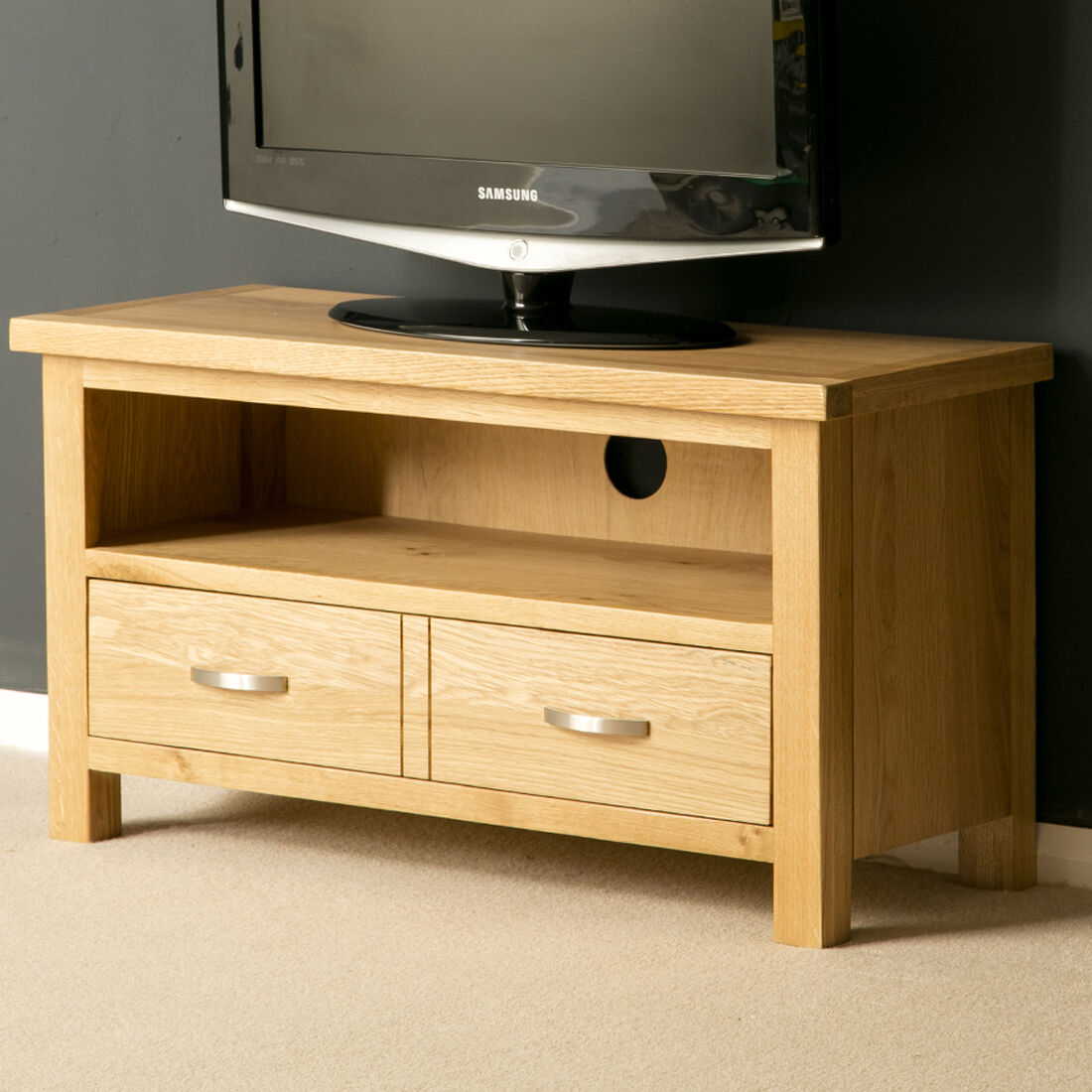 London Oak Tv Stand Small Plasma Tv Cabinet Solid Wood