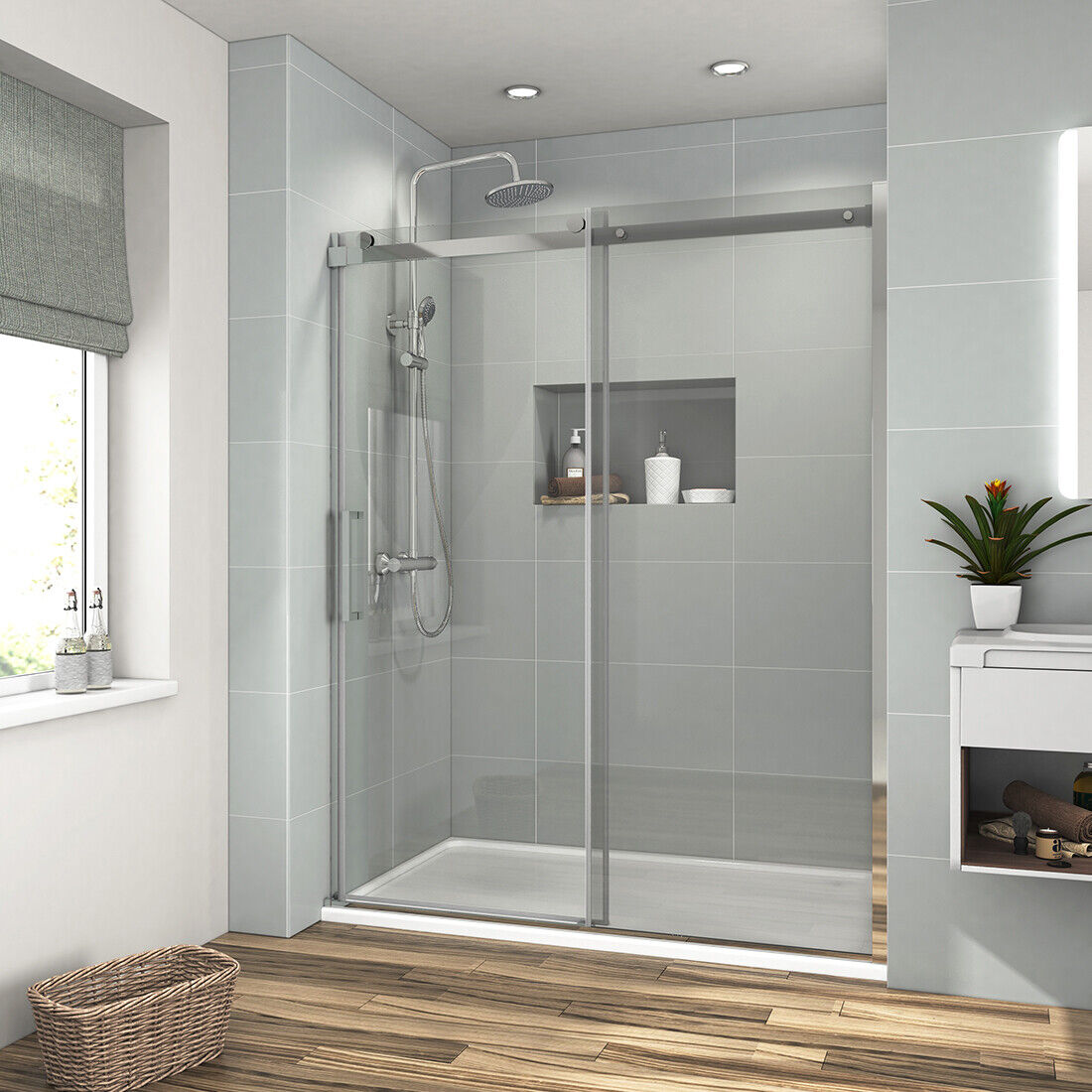 Bath 60 X 72 Frameless Sliding Shower Door Screen 5 16 Glass Bathroom Chrome