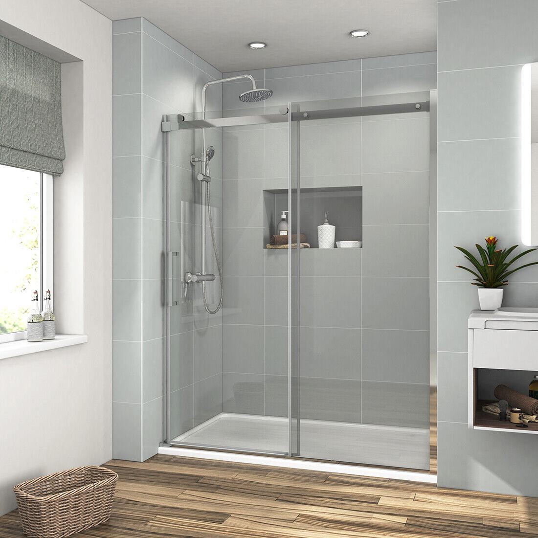 """Bath 48"""" x 72"""" Frameless Sliding Shower Door Screen 5/16"""" Gl"""