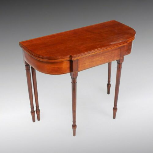 Antique Federal Period Cherry 5 Leg Gaming Table Late 18th Early 19th Century