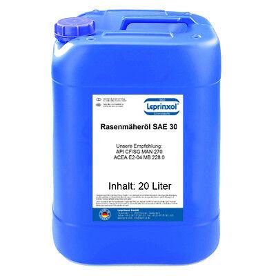 (2,44€/L) 20 Liter SAE 30 Einbereich Motoröl für Rasenmäher ACEA E2 MAN