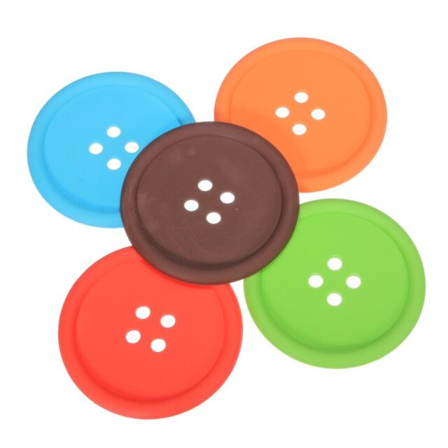 5Pcs Cup Cushion Holder Cute Colorful Silicone Button Coaster HY