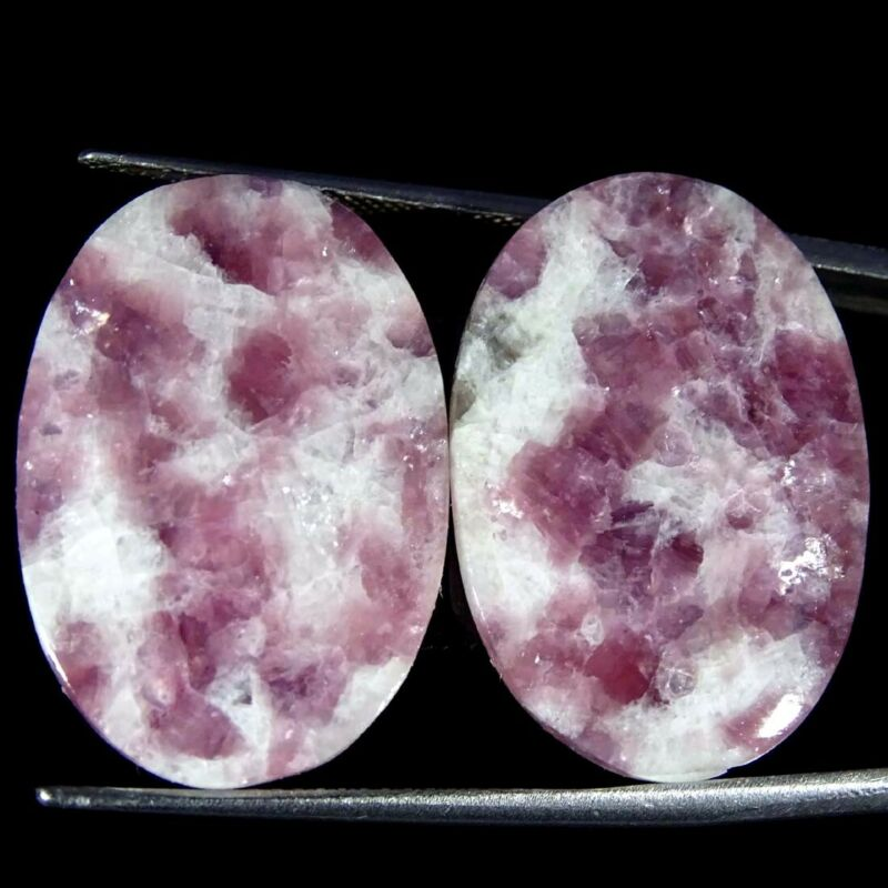 26.00Cts Natural Lepidolite Oval Pair Cabochon Loose Gemstone