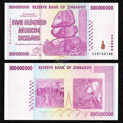 ZIMBABWE 500 Million X 100 PCS, Bundle, AA, 2008, P-82, Trillion Series, UNC