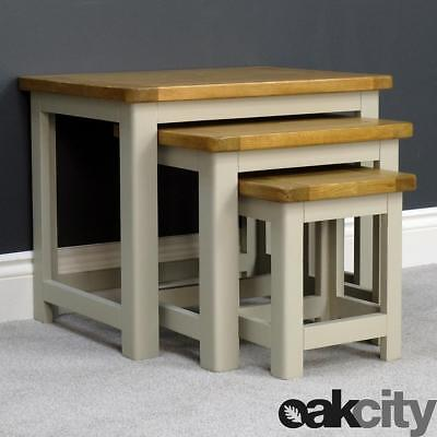 Aspen Oak Nest Of 3 Tables / Sage Grey Painted Side Table With Oak Top