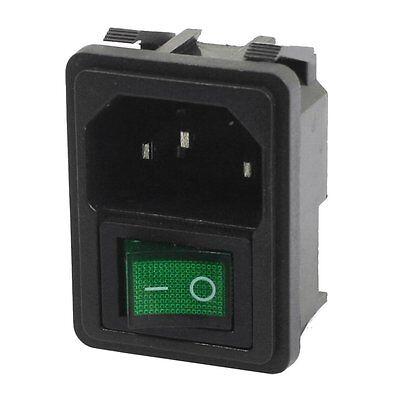 Panel Mount Green Rocker Switch 3 Pin Plug Power Socket Ac250v 10a