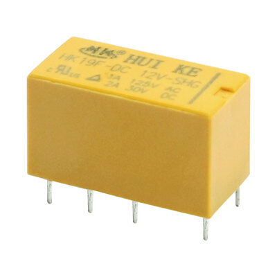 Hk19f-dc12v-shg Dc 12v Dpdt 8pin Pcb Realplay Coil Power Relay Yellow